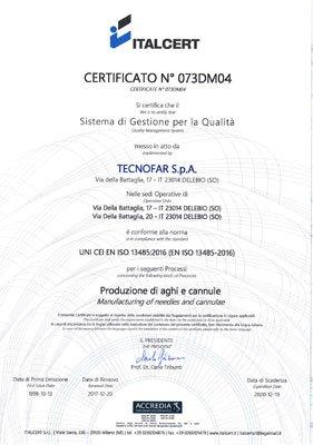 Certificazione UNI-CEI-EN-ISO-13485